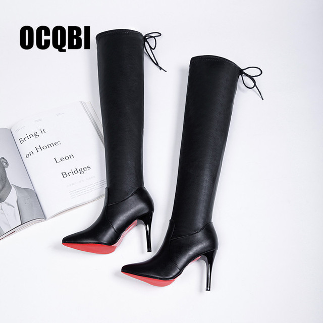 8adc67fe10c 2019 Women Shoes Boots High Heels Red Bottom Over the knee Boots Leather  Fashion Fenty Beauty Ladies Long Boots Size 35-39