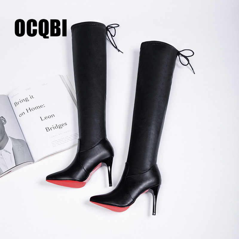 2019 รองเท้าผู้หญิงรองเท้ารองเท้าส้นสูงสีแดงด้านล่างเข่ารองเท้าหนังแฟชั่นความงามสุภาพสตรียาวรองเท้าขนาด 35 -39