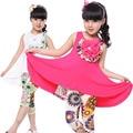 Детская одежда устанавливает летние девушки одеваются и леггинсы 2 шт. детский костюм Floarl свободного покроя детские детская одежда мода девушки наряды 2-12Y