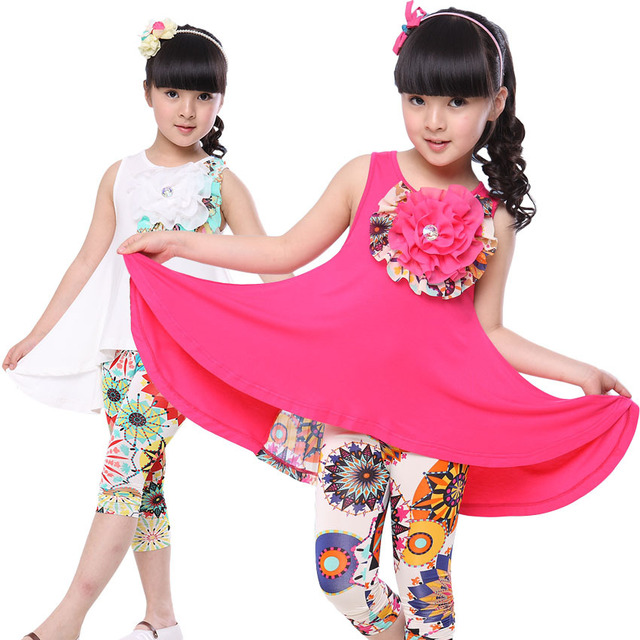 Children Clothing Sets Summer Girls Dress & Leggings 2pcs Child Suit Floarl Casual Baby Kids Clothes Fashion Girls Outfits 2-12Y