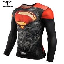 Спорт Сжатия Рубашки мужские Супермен Crossfit Фитнес Длинным Рукавом 3D Майка Топы Запуск Кофты