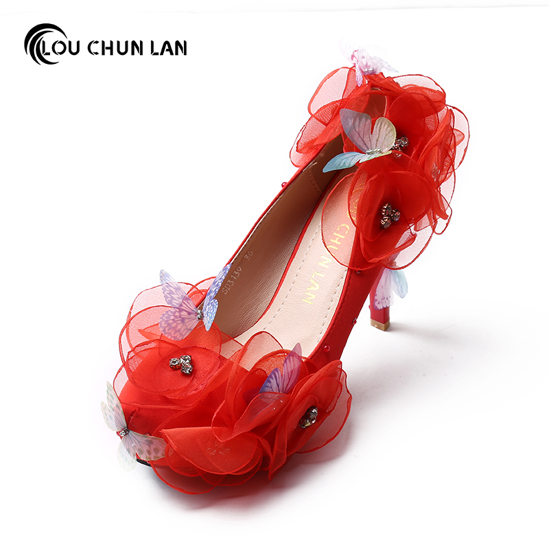 LOU CHUN LAN Official Store Shoes Women's Shoes Pumps Wedding shoes White red flowers Butterfly Round Toe waterproof table bride Shoes
