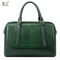Qiwang Green Boston Bag for Women Genuine Leather Tote Bags Classic Brand Design High Quality Luxury Green Handbag Purse