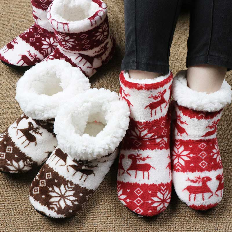Home Slippers Shoes Plush-Insole Indoor-Socks Christmas Sides Female Dames Winter Fur