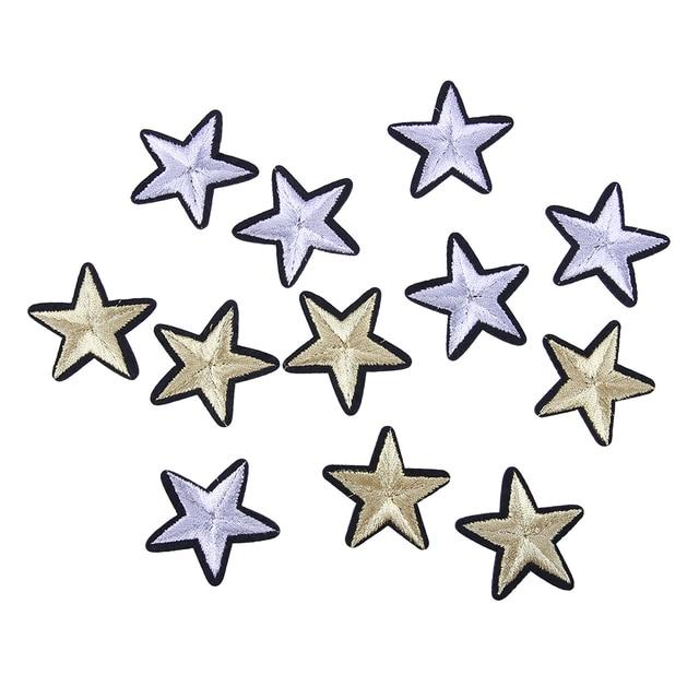 12 unids Parches DIY 3D apliques estrella Bordado remiendo pegatina ...