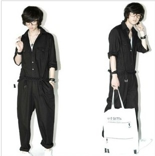 2016 New Casual Trousers Pant Autumn Vintage Men's Overalls Black Brand Fashion Pockets Loose One Piece Jumpsuit Pant
