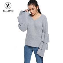 STYLE Women Ruffles Sleeve Knitted Sweater V Neck Flare Sleeve Knitwear  Pullovers Jumper Autumn b56438e86