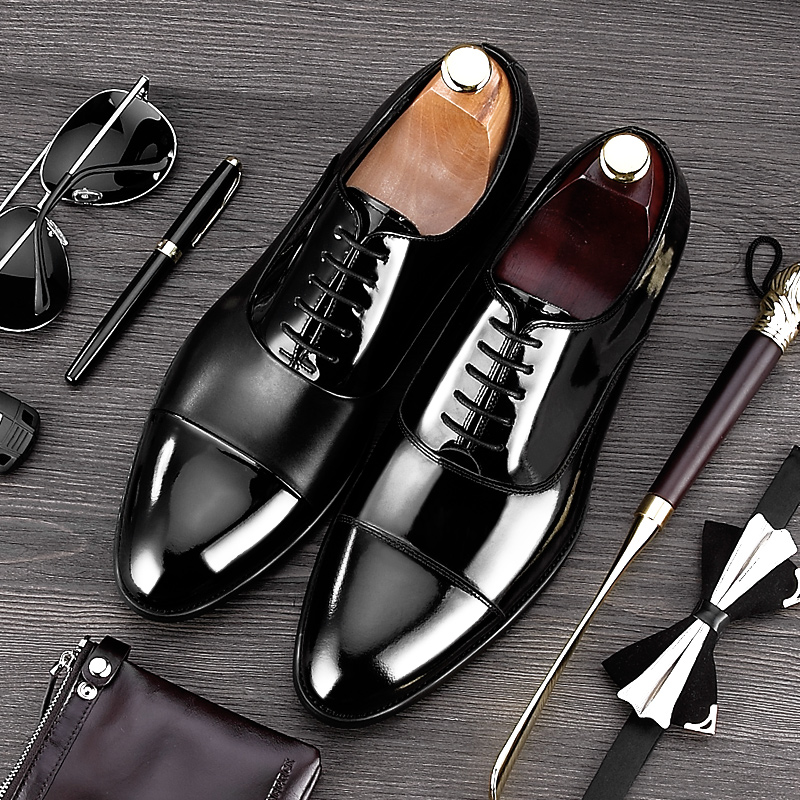 2017 New Arrival Formal Derby Man Dress Shoes Male Patent Leather Handmade Oxfords Luxury Brand Men's Bridal Wedding Flats MG81 new arrival pointed toe derby man formal dress shoes luxury brand genuine leather male oxfords men s wedding bridal flats jd56