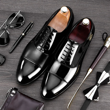 2017 New Arrival Formal Derby Man Dress Shoes Male Patent Leather Handmade Oxfords Luxury Brand Men's Bridal Wedding Flats MG81