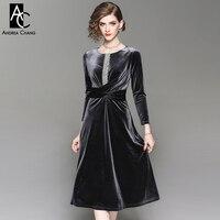 spring autumn woman dress rhinestone synthetic pearl beading black gray velvet velour dress vintage over knee calf length dress