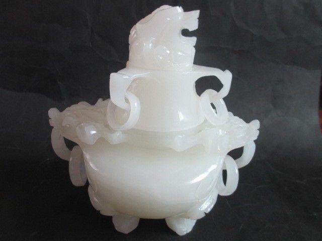 100% de Afghanistan jade blanc yulong encens brûleur, le mythique animal sauvage