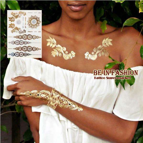 Online Shop 1sheet New Indian Arabic Designs Golden Silver Flash