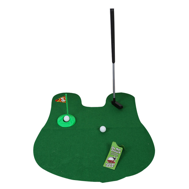 Potty Putter Toilet Mini Golf Game Set Toilet Golf Putting Funny Novelty Game Golf Training Euipment Accessories Green