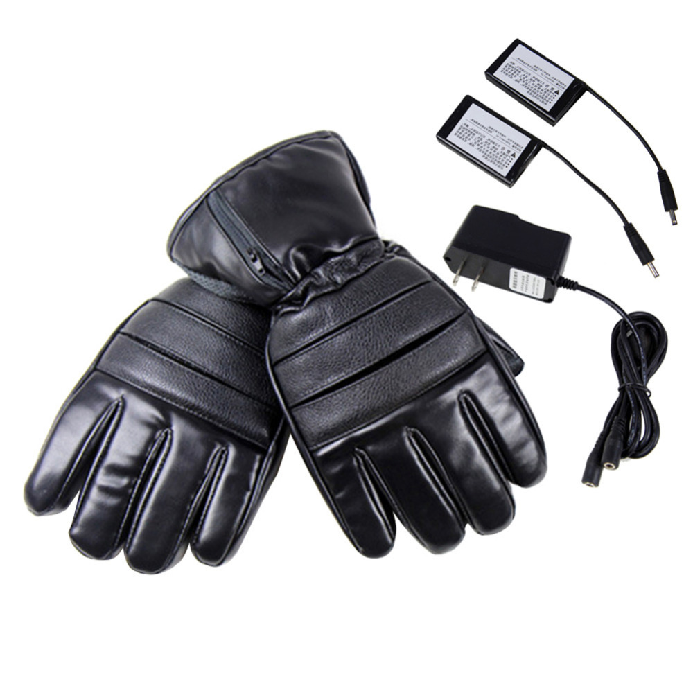 4000mAh PU Leather Electric Heated Gloves Winter Windproof Ski Cycling Outdoor Warmer Gloves Rechargeable Battery 2018 New windproof 5 fingers heated skiing gloves waterproof cycling rechargeable gloves electric heating gloves