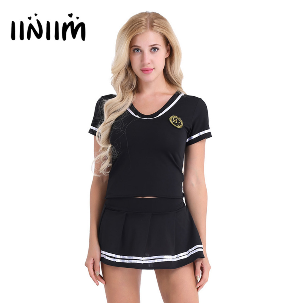 iiniim Women School Girls Cosplay Sexy Costumes Lingerie Outfit Clubwear Short Sleeve T-shirt Top with Mini Skirt and G-string