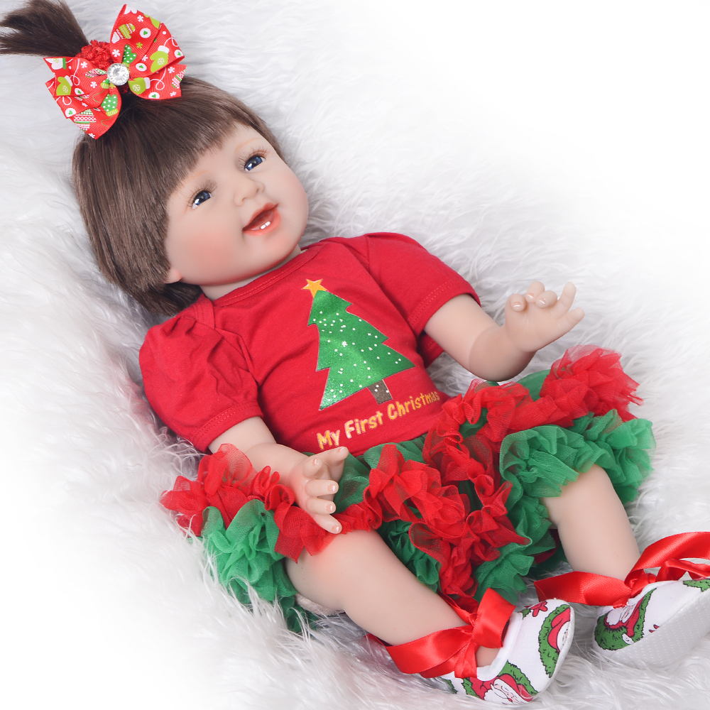 Christmas Bebe Reborn Bonecas Brinquedos Realistic Reborn Baby Dolls 55 cm Soft Silicone Vinyl Smiling Babies Girl Doll For Sale