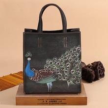 Handmade Pea Painting Square Composite Bag Tophigh Real Leather Tote Paris Brand Designer Handbag France