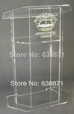 Free Shiping Simple Beautiful Aluminium Shape Podium Lectern Stand, Modern Acrylic Lectern Podium Pulpit For Sale