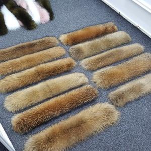 Image 2 - 겨울 진짜 너구리 모피 칼라 100% 천연 너구리 모피 스카프 70CM 패션 코트 스웨터 스카프 칼라 넥 캡