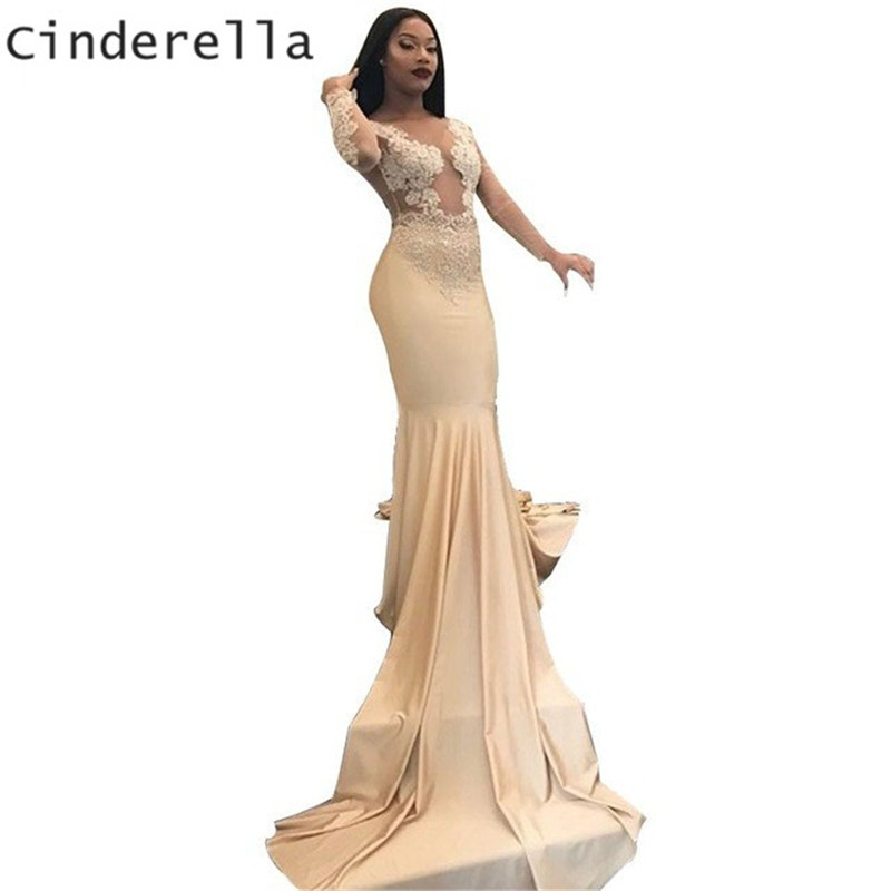 Cinderella Champagne Sheer Tulle Back Court Train Mermaid Lace Applique Crytal Silk Satin   Prom     Dresses   Party Gowns For   Prom