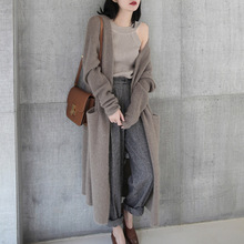 2018 Girl Casual Long Knitted Cardigan Autumn Korean Women Loose Solid Color Pocket Design Sweater Jacket gray/cardigan