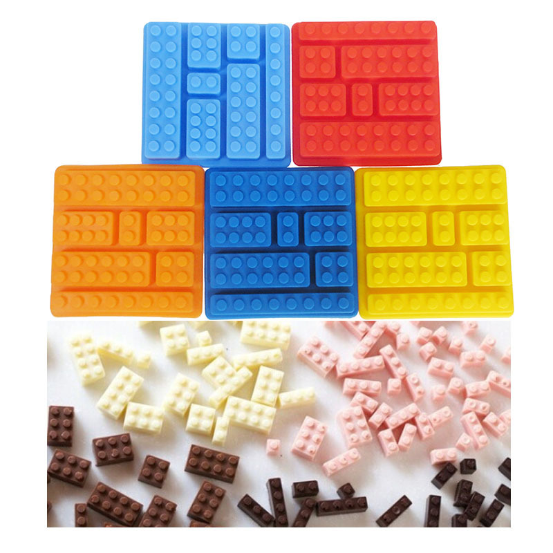 Hem Använda Bakverktyg DIY Silikon Lego Brick Style Kvadratisk Is Mögel Choklad Mögel Kaka Gelé Mögel Byggnad Silikonbricka D0027
