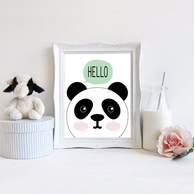 Hello Panda Art Print Baby Canvas Wall Modern Nursery Decor