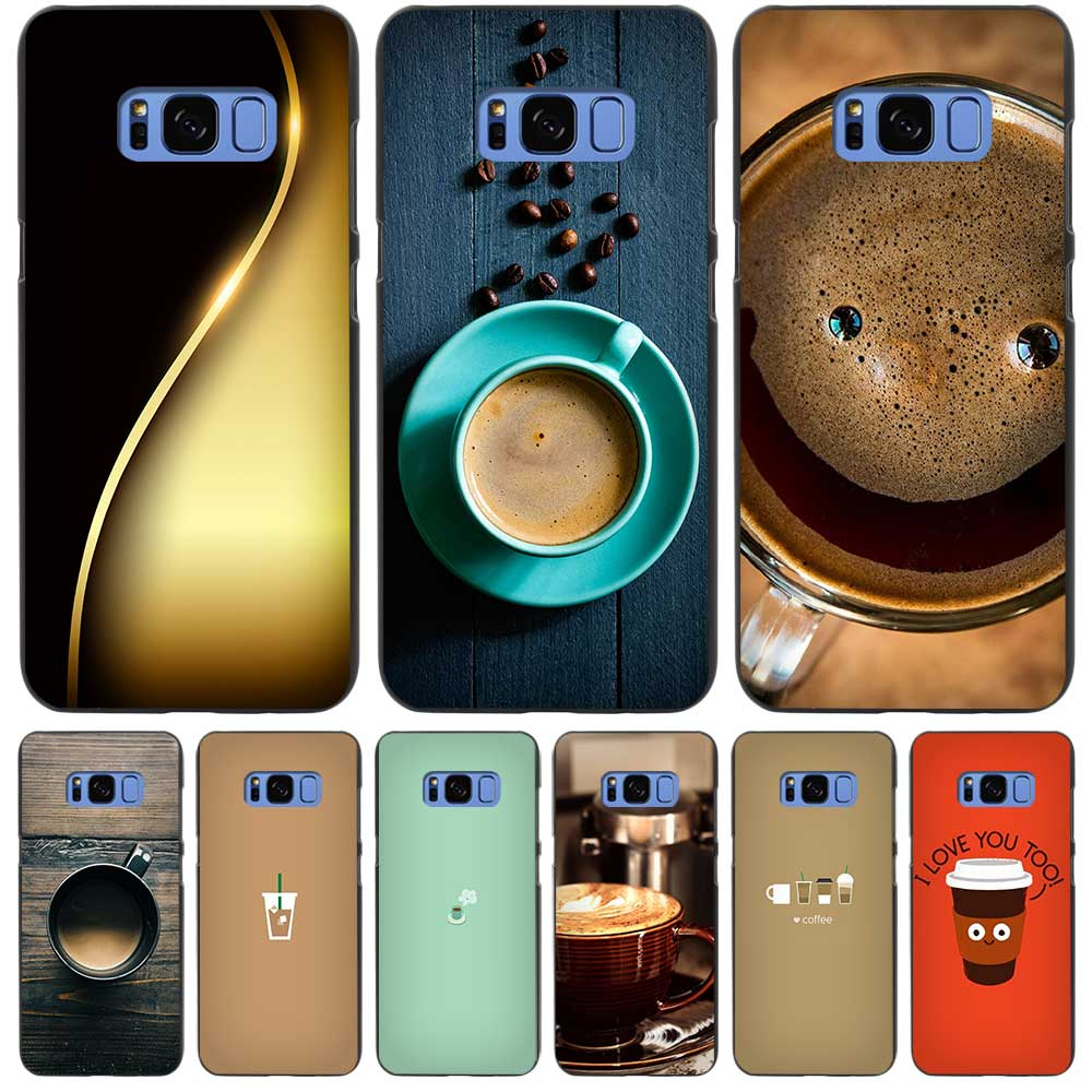 Coffee Cups Flat Minimal Black Case Cover Shell Coque for Samsung Galaxy S3 S4 S5 Mini S6 S7 S8 Edge Plus S8+