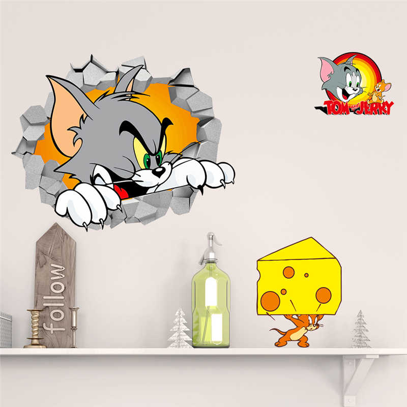 3d Tom Jerry Through Wall Stickers For Kids Room Bedroom Wall Art Decor Cartoon Movie Mouse And Cat Wall Decals Diy Posters Gift Sticker For Kids Room Wall Stickers For Kidswall Sticker Aliexpress
