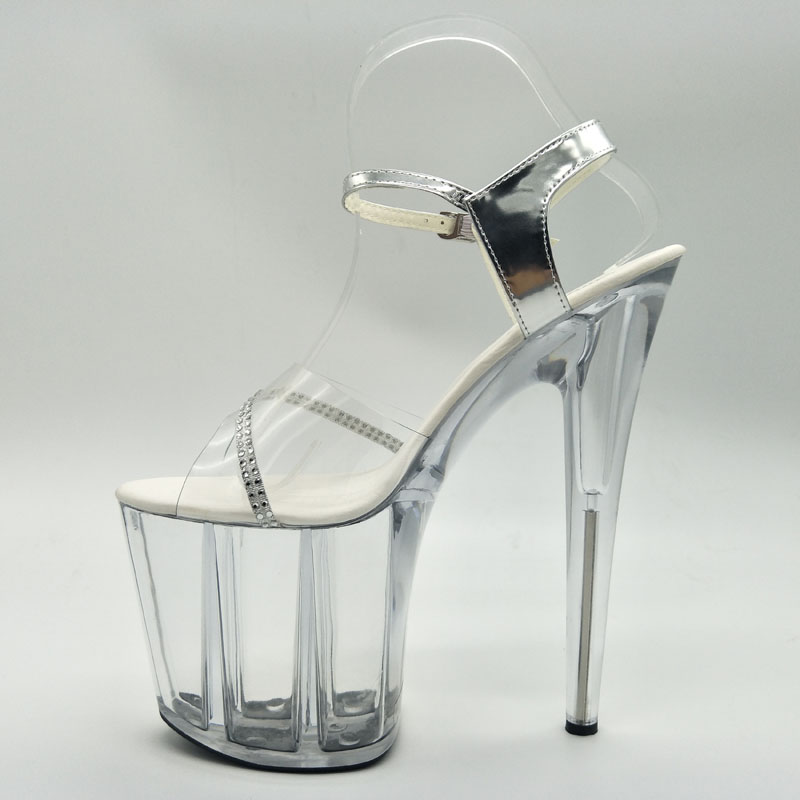 8 Ultra 20 Plate Sexy Chaussures Vente Tentation forme Chaude Sandales Cm Minces Stripper Cristal Pouce Clair Hauts Nouvelle Laijianjinxia argent Talons Clair q6tw88