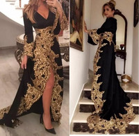 Kaftan Dubai Style Muslim Evening Dresses Long Sleeves Black Velour Gold Appliques Ladies Formal Prom Gowns 2019 robe de soiree