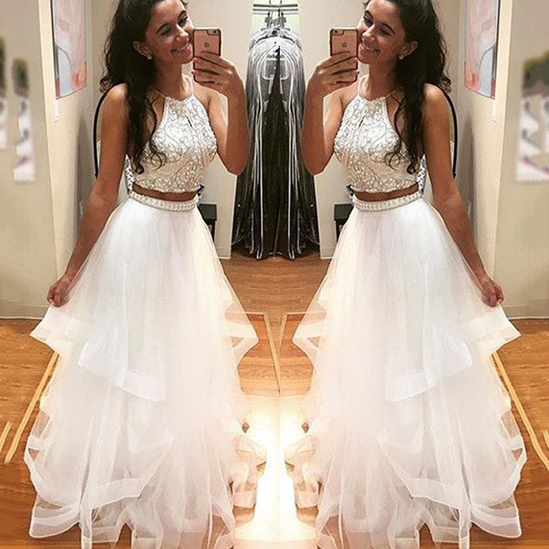 Spakly Crystal Beaded Prom Gown Sexy Halter Two Pieces Set Sleeveless Floor Length Dress