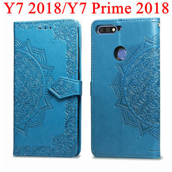Phone Flip Wallet Case For Huawei Y7 Y7 Prime 2018 Screen Protector Tempered GlassFor Huawei Y7 2018 Y7Prim 2018 Full Cover Film image