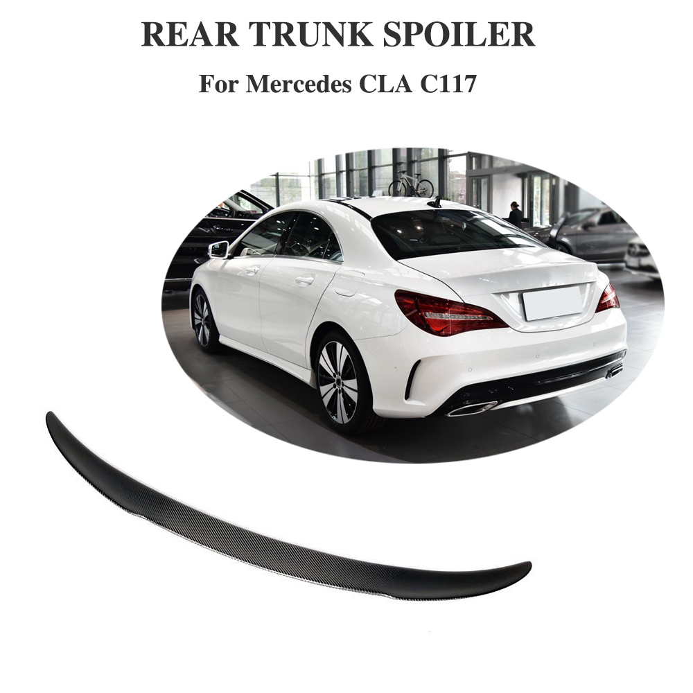 For Mercedes-Benz CLA Class C117 Sedan Base Sport <font><b>CLA250</b></font> CLA45 AMG 2014 - 2019 Trunk Lip <font><b>Spoiler</b></font> Carbon Fiber Rear Wing image