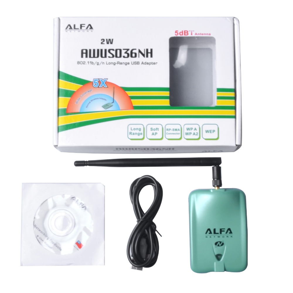 Alfa USB AWUS036NH Ralink 3070L Chipset 2000mW Wireless N USB Wifi Adapter 150Mbps Wireless USB Wifi <font><b>Network</b></font> Card 1Pc Per Set