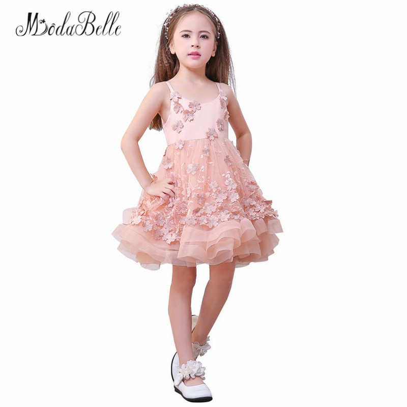 modabelle Blush Pink Flower Girl Dress Floral Baby Christmas Ball Gowns  Kids Glitz Puffy Pageant Dresses Children 2018 New Year -in Flower Girl  Dresses from ... 6a2f3b536c78