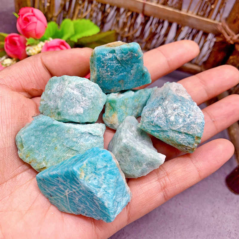 50G Natural Raw Amazonite Crystal Rough Stone Specimen Healing Crystal Love Natural Stones and Minerals Fish Tank Stone
