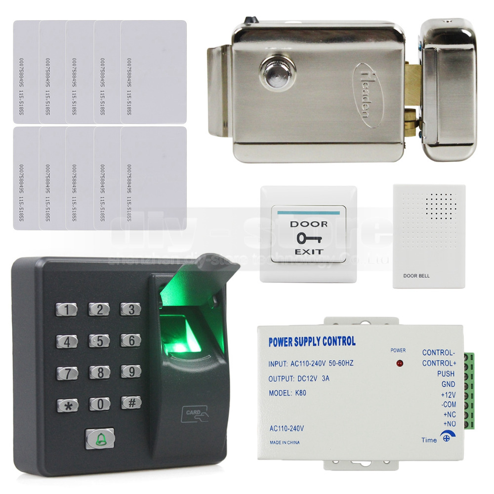 DIYSECUR Biometric Fingerprint RFID 125KHz Password Keypad Door Access Control System Kit + Electric Lock + Door Bell digital electric best rfid hotel electronic door lock for flat apartment