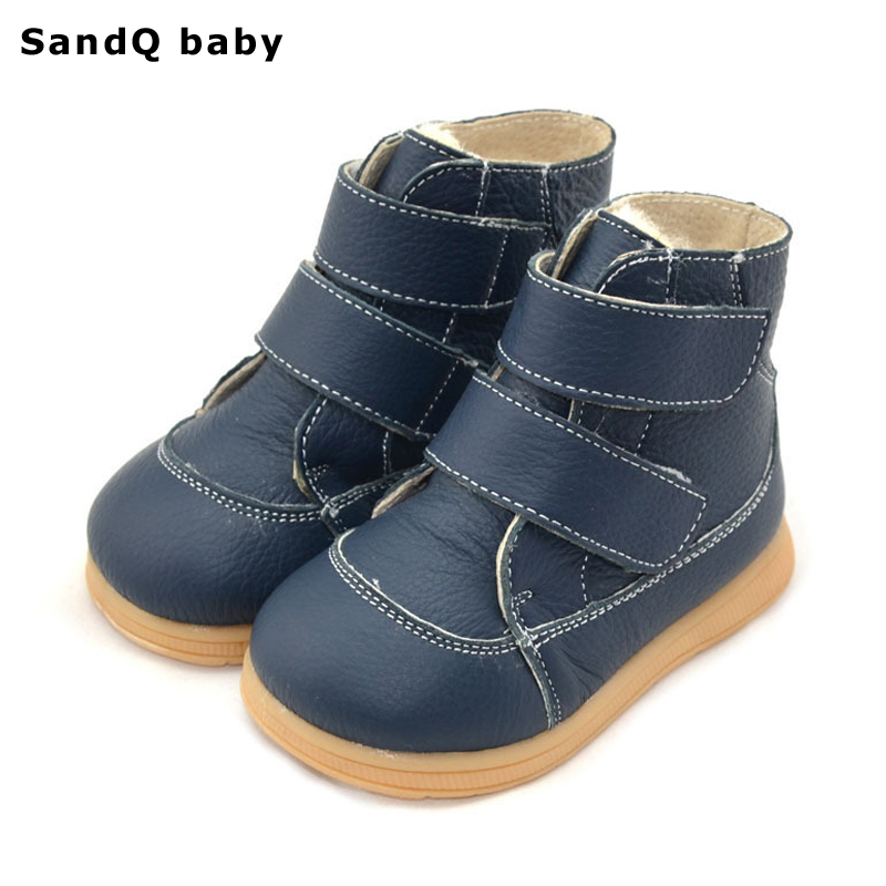 Children Snow Boots 2017 New Winter Genuine Leather Cotton-Padded Children Shoes Fashion Flat Boots for Boys and Girls Footwear