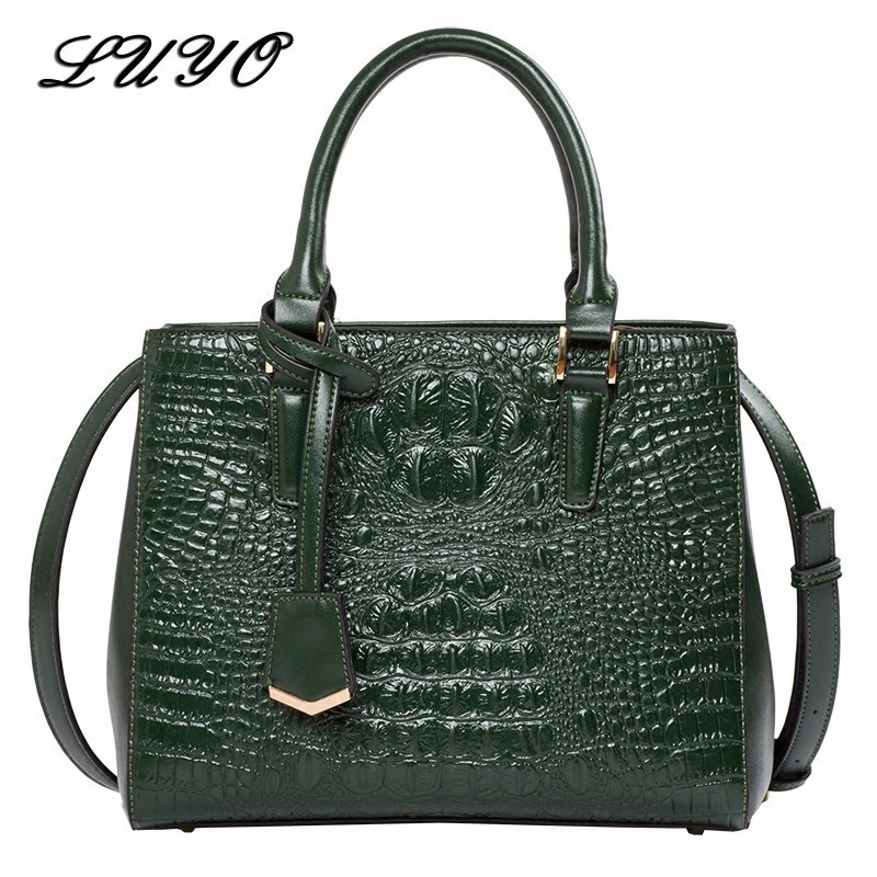 Luyo New Arrival High Quality Alligator Leather Luxury Handbags Women Bags Designer Shoulder Bags Female Small Tote Luxe Green high quality pu leather metal buckle luxury handbags women bags designer small women shoulder over bags bolsos de mano female