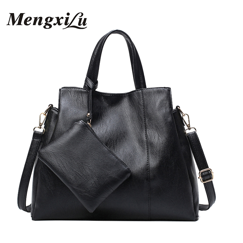 MENGXILU High Quality Composite Bag Women PU Leather Handbags With Purse Soft Women Shoulder Bag Large Capacity Casual Tote Bags reprcla brand designer handbags women composite bag large capacity shoulder bags casual ladies tote high quality pu leather