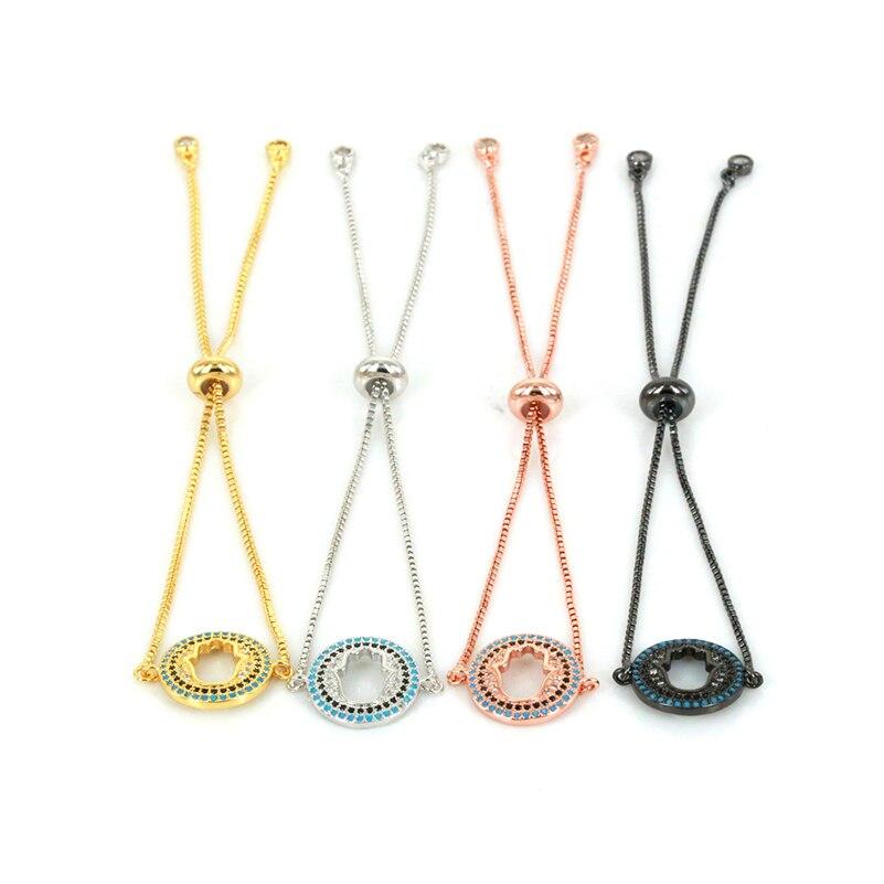 4 Colors Lovely Link Chain Friendship Bracelets Fashion Jewelry CZ Hamsa Charms Bracelet for Women/Men