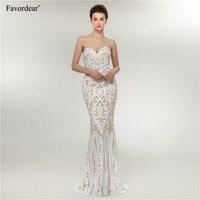 Favordear Vintage Lace Mermaid Wedding Dress Turkey Vestido de Novia Sequin Lace Sheer Bridal Gowns Robe mariee Sexy Wedding
