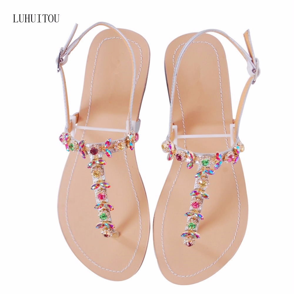 2018 NEW Women`s Summer Bohemia Diamond Sandals Women Beach Rhinestone Shoes T-strap Thong Flip Flops Comfortable Peep Toe Shoes