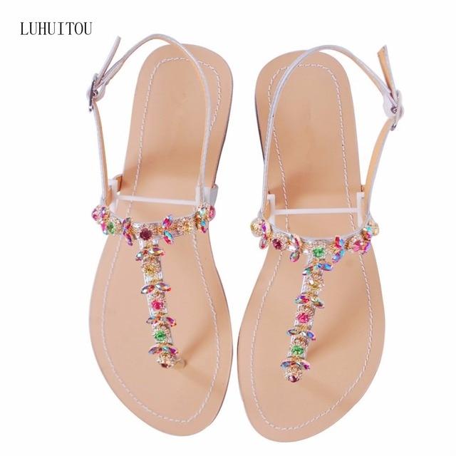 b65611ef4a0cb 2018 NEW Women`s summer bohemia diamond sandals women beach Rhinestone shoes  T-strap thong flip flops comfortable peep toe shoes