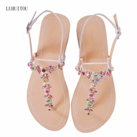 2018 NEW Women`s summer bohemia diamond sandals women beach Rhinestone shoes T strap thong flip flops comfortable peep toe shoes
