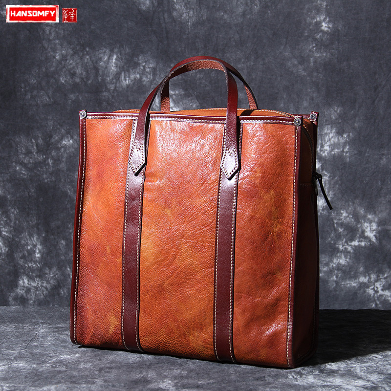 Original new first layer leather Men and Women handbags portable briefcase mens handmade vintage leather female shoulder bagsOriginal new first layer leather Men and Women handbags portable briefcase mens handmade vintage leather female shoulder bags