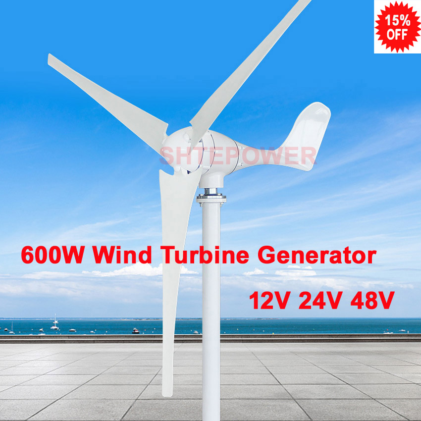 3 phase ac 12v 24v 48v 600w wind power windmill Generator 3/5 blades option small system for home free shipping 600w wind grid tie inverter with lcd data for 12v 24v ac wind turbine 90 260vac no need controller and battery