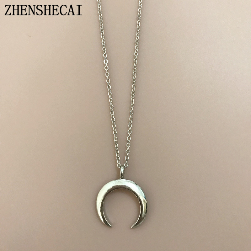 22 стиля, богемное ожерелье для женщин, Ретро стиль, золотая, серебряная цепочка, длинная луна, массивное ожерелье, подвеска, богемное ювелирное изделие, подарок девушке - Окраска металла: 87yin