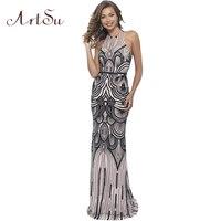 ArtSu Geometric Sequined Party Long Dress 2018 Sexy Women Maxi Dress Backless Party Dresses Spring Vestido De Festa ASDR30611